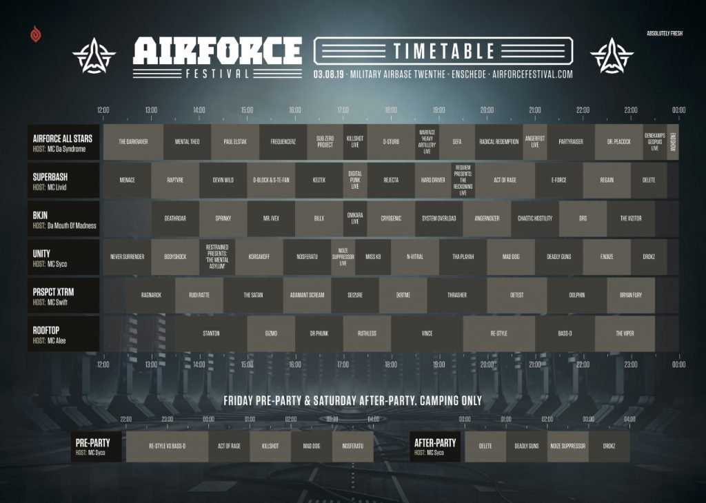 volledige timetable airforce